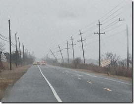 utilitypoles tilting during Mar 6 nor'easter in Cape May County - Ted Greenburg photo