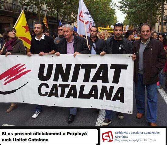 Unitat Catalana e Solidaritat Catalana a la manifestacion de Perpinyà