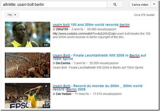 Trovare video YouTube che nel titolo hanno specifiche parole