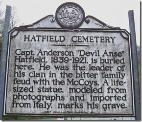 Hatfield Cemetery marker near Sarah Ann in Logan County, WV