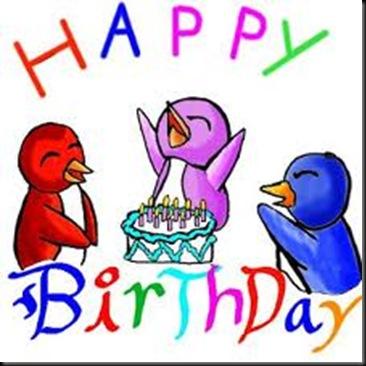 Cartoon birthday birds