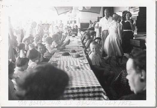 Edwin and Sydney Webster at Kid's Activity on board the S.S. Brazil July 1952