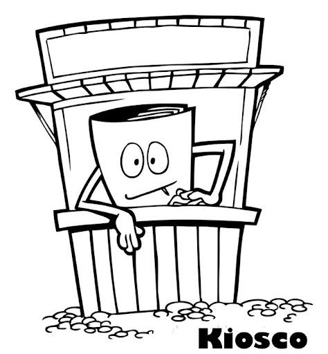 Kioscos dibujos para colorear for Kiosco de madera para jardin