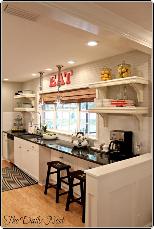 open shelves in kitchen