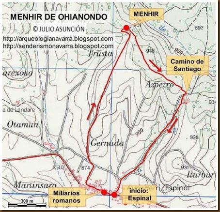 Mapa ruta menhir Ohianondo - Espinal