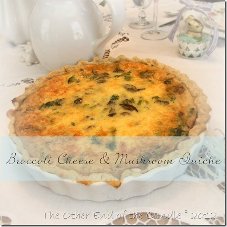 Broccoli Cheese & Mushroom Quiche Pin Photo