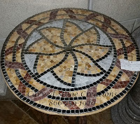 "D24"" Mosaic with Marble & Stainless Steel.  Beige Venato Rojo Alicante Pacific Pewter."