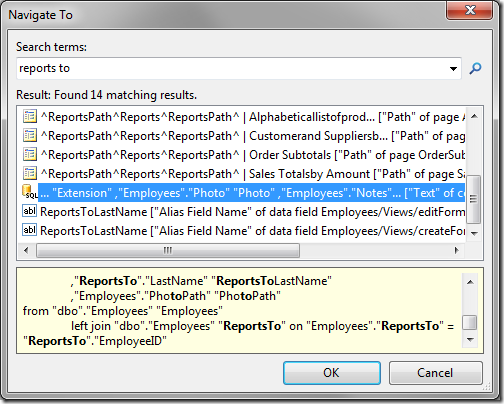 Navigate To with 'reports to' as the search term.