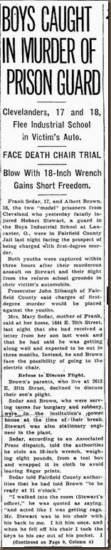 STEWART_Hobart_newspaper article re murder_page 1_18 Dec 1936_ClevelandPain Dealer_Cleveland Ohio_cropped