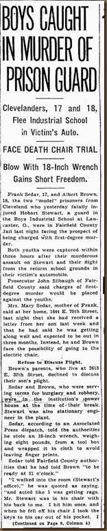 STEWART_Hobart_newspaper article re murder_page 1_18 Dec 1936_ClevelandPain Dealer_Cleveland Ohio_cropped