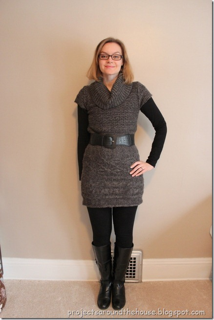 belted gray sweater dress, black leggings, knee high boots