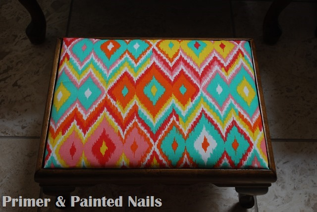Footstool After - Primer & Painted Nails