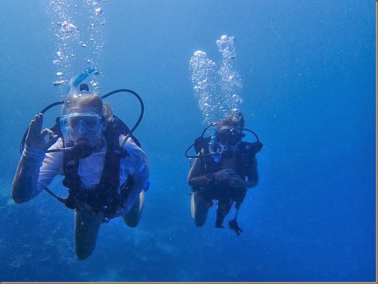 scuba diving off of the sailboat delos