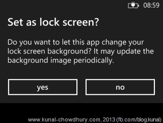 Confirmation Message to set the current app as the Lock Screen image Provider