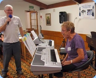 President, Gordon Sutherland, sharing some special moments with Yvonne Moller before her great performance on the Korg Pa1X. Photo courtesy of Dennis Lyons.
