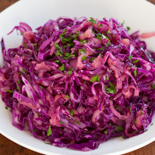 Warm Red Cabbage Slaw with Apple and Caraway Seed