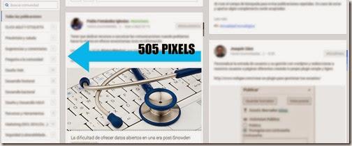 Estructura de Google+ cuando se muestra a dos columnas dentro de una comunidad.