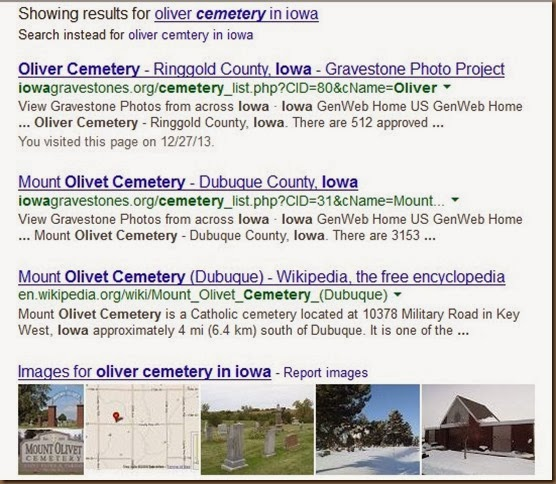 Oliver cemetery on Google