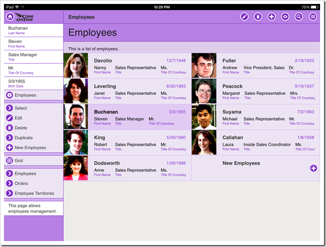 An example of 'List' style presentation that contains a thumbnail in an app with Touch UI.