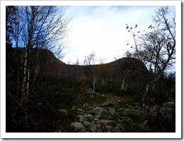 Men nu börjar det gå uppför och bli lite jobbigt, en jäkla massa sten. Jag skall gå mellan de där kullarna.