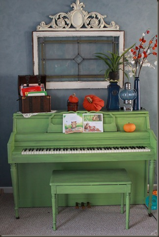 DIY painted green piano