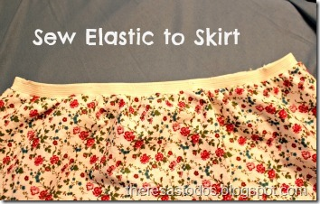 Dress to Skirt Refashion, Attatch Elastic