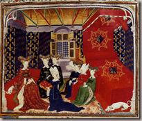 Christine de Pisan présentant ses Epîtres du Débat sur le Roman de la Rose à la reine Isabelle de Bavière (1413) British Library