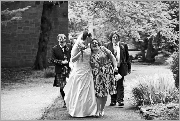bride leaving traditional scottish wedding