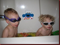 Goggles in the bathtub