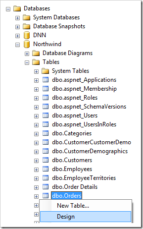 Design Orders table in the Northwind database using SQL Server Management Studio.