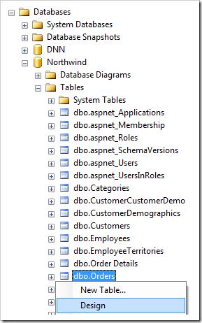 Design Orders table in the Northwind database using SQL Server Management Studio.