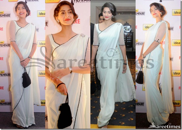 Sonam_Kapoor_White_Plain_Georgette_Saree