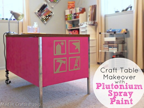 Craft Table Makeover Plutonium Spray Paint