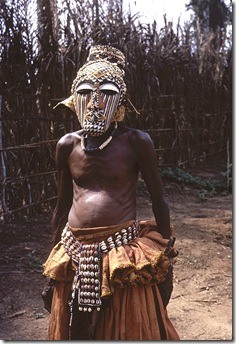 Ngady Amwaash masked dancer, Mushenge, Congo