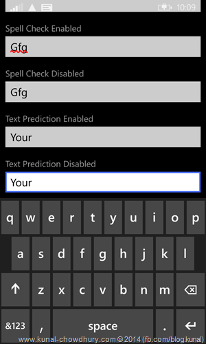 Windows Phone 8.1 - TextBox Control with Text Prediction disabled (www.kunal-chowdhury.com)