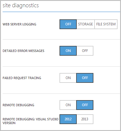 Site diagnostic settings in the portal