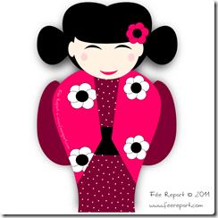 FAire-part de naissance poupée Kokeshi