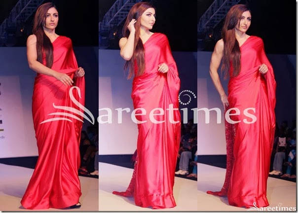 Soha_Ali_Khan_Red_Plain_Saree
