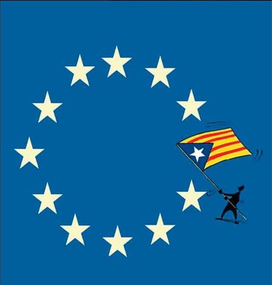 Europèu bandièra ambe l'estalada catalana