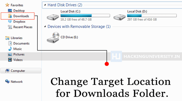 how to change the location of downloads in windows 7