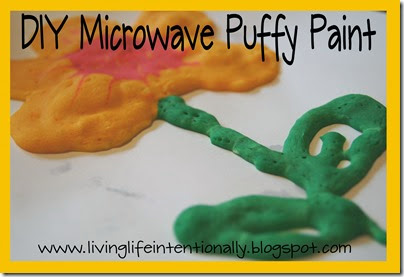 DIY Microwave Puffy Paint from 123 Homeschool 4 Me