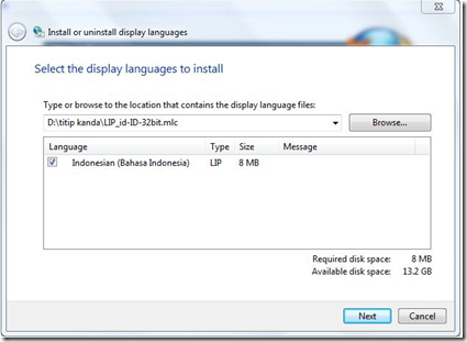 LIP ID Windows 7 Language Interface Pack Bahasa Indonesia