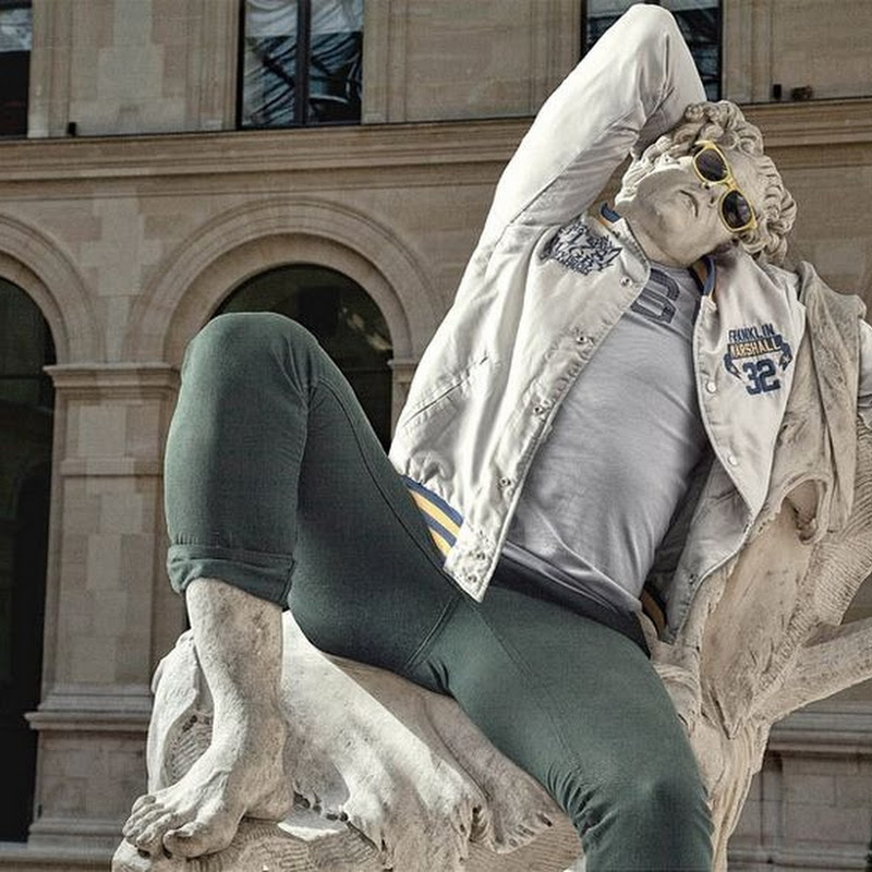 Statues of the Louvre Dressed Up as Modern Day Hipsters