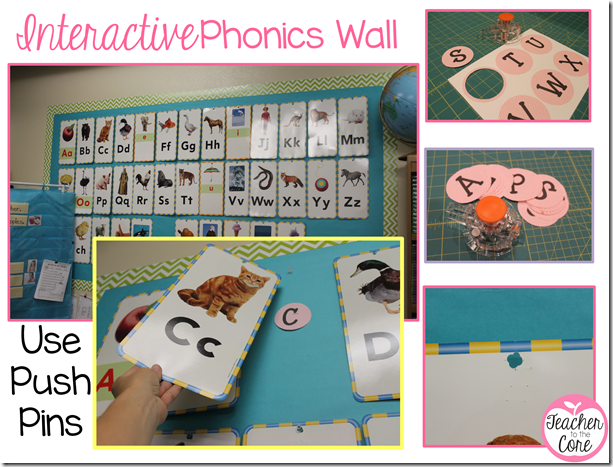 Phonics wall fun! Pink chevron Circles are a freebie on this blog post!