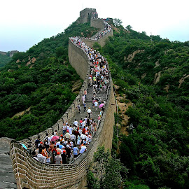 Great Wall of China by Elizabeth M - Buildings & Architecture Public & Historical ( #greatwall #china #holiday #crowds #landscape #people #historic )