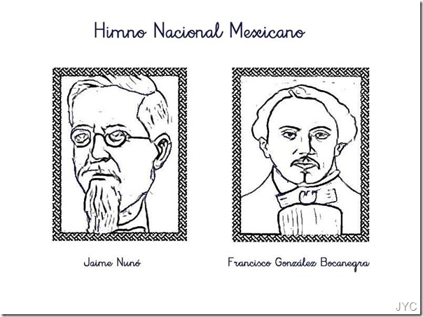 Himno nacional mexicano dibujos para colorear, Jaime Nunó colorear