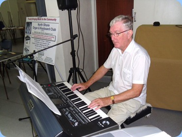 President, Gordon Sutherland, playing his Korg Pa3X for the Prescott Club members. Photo courtesy of Peter Littlejohn.