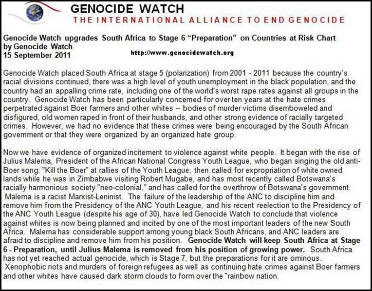 GENOCIDE WATCH REASON FOR UPDATING SA TO STAGE SIX GENOCIDE SEPT 20 2011