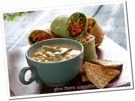 White Chili and Veggie Wraps B