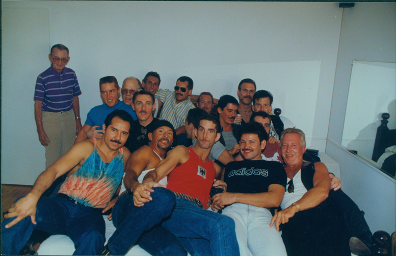 Group photograph at a gay men's gathering. Circa early 1990s.